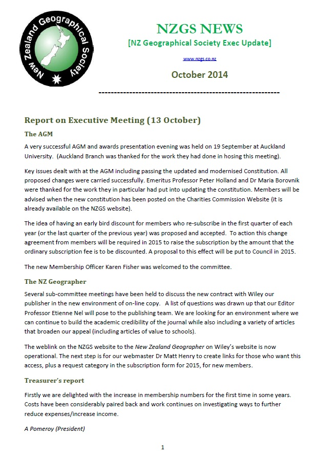 NZGS Executive Newsletter